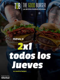 Disfruta el 2x1 todos los Jueves en nuestras hamburguesas