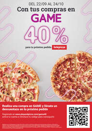 Con tus compras en GAME 40% para tu próximo pedido en Telepizza 🍕