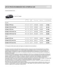 lISTA DE PRECIOS Audi A3 Sedan