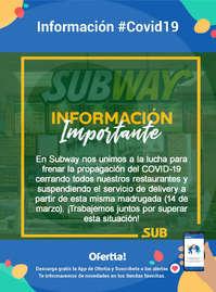 Información Subway-Aviso importante #Covid19