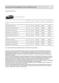 Lista Precios Audi A3 Sportback